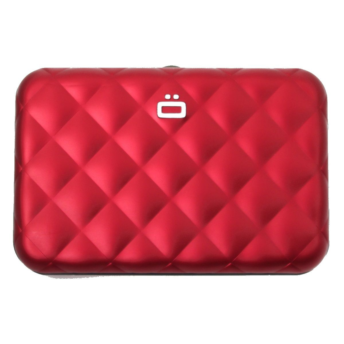Aluminum Wallet Quilted Button - Red
