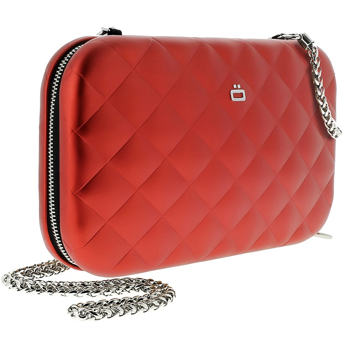 Aluminum Clutch Quilted Lady Bag - Red