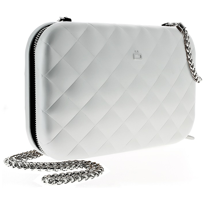 OGON Aluminum Clutch Quilted Lady Bag - Silver