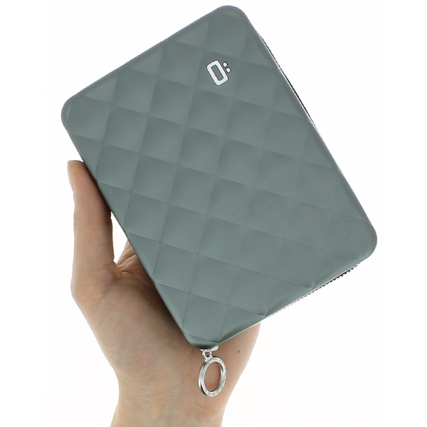 OGON Aluminum Wallet Quilted Passport - Platinium