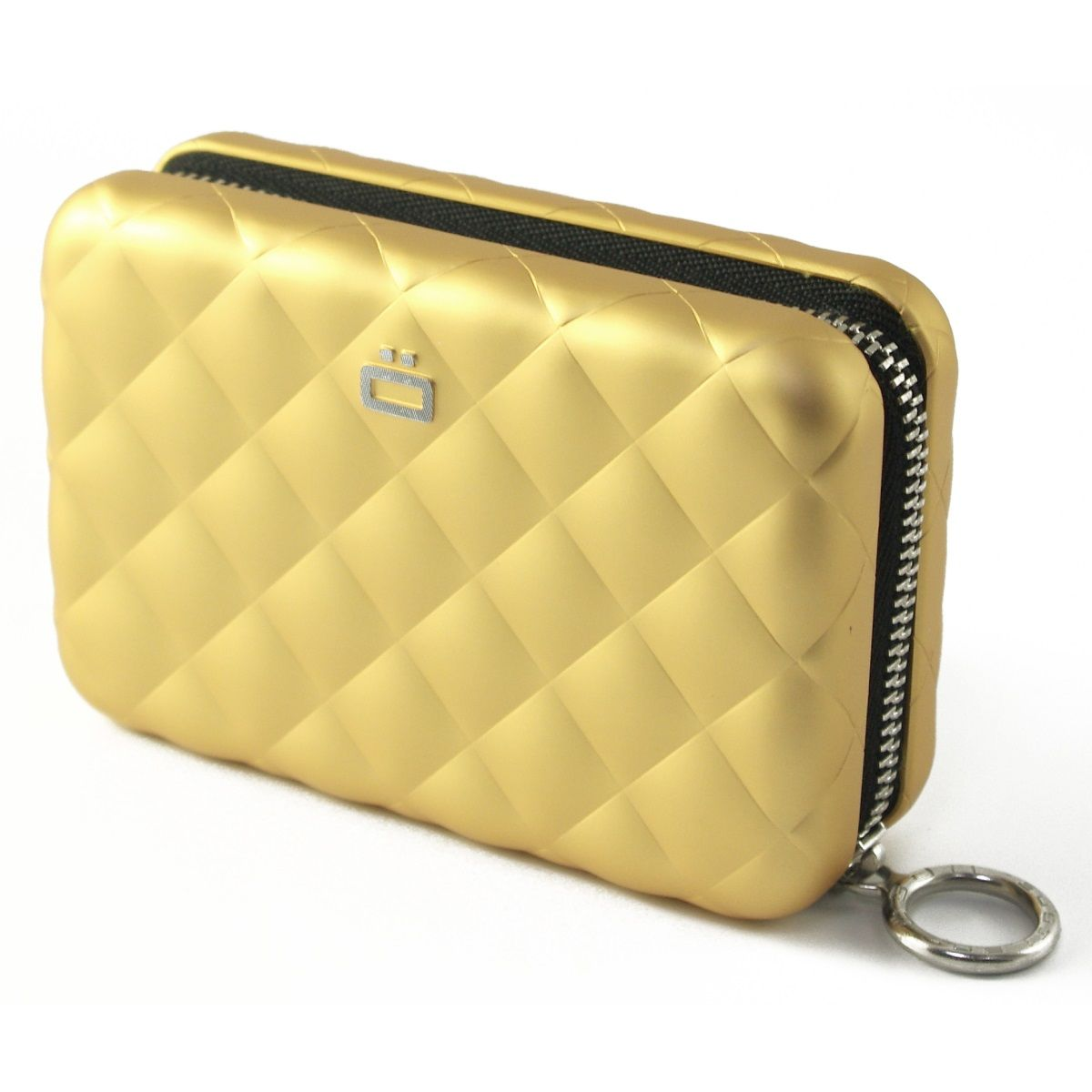 OGON Aluminum Wallet Quilted Zipper - Gold