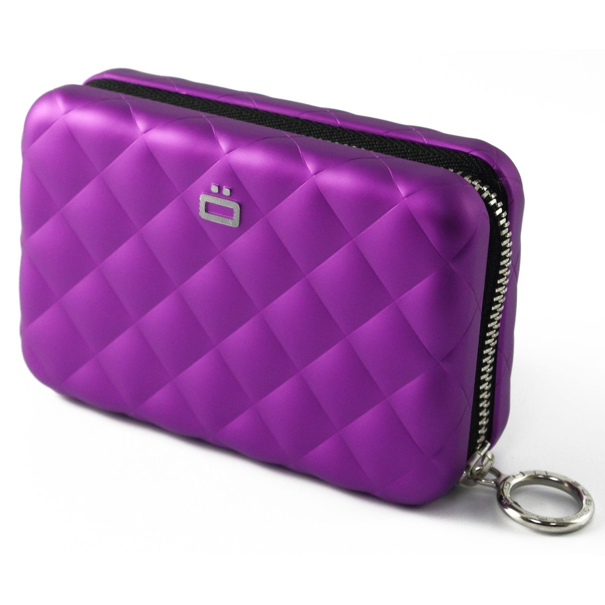 Aluminum Wallet Quilted Zipper - Purple
