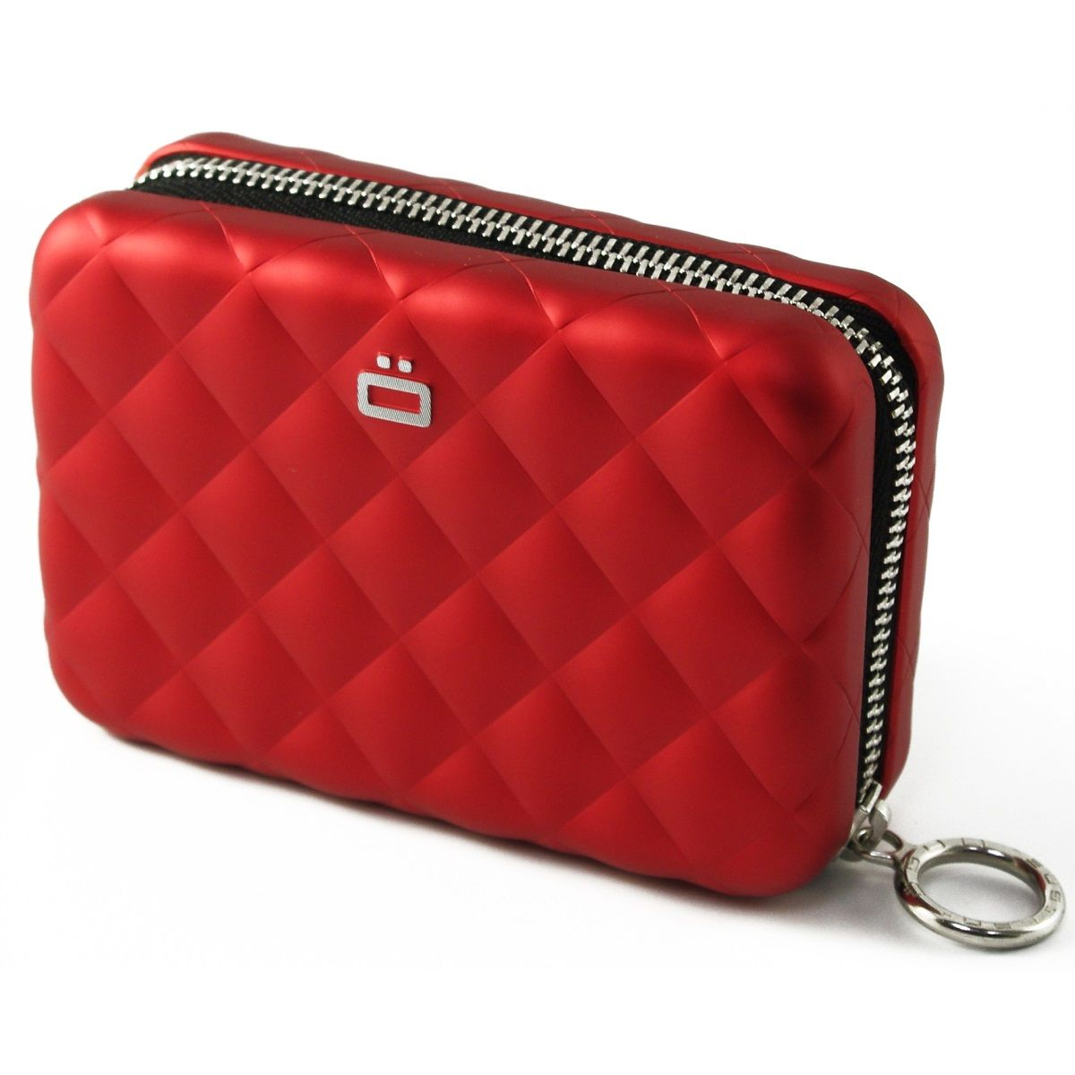 OGON Aluminum Wallet Quilted Zipper - Red