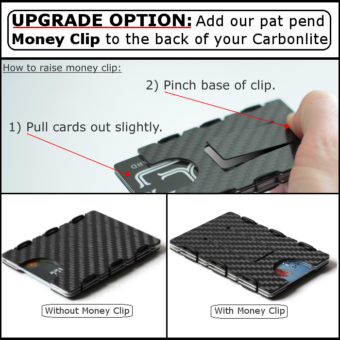 slimTECH Carbon Fiber Wallet With Money Clip and Strap - Carbon Stain/Red