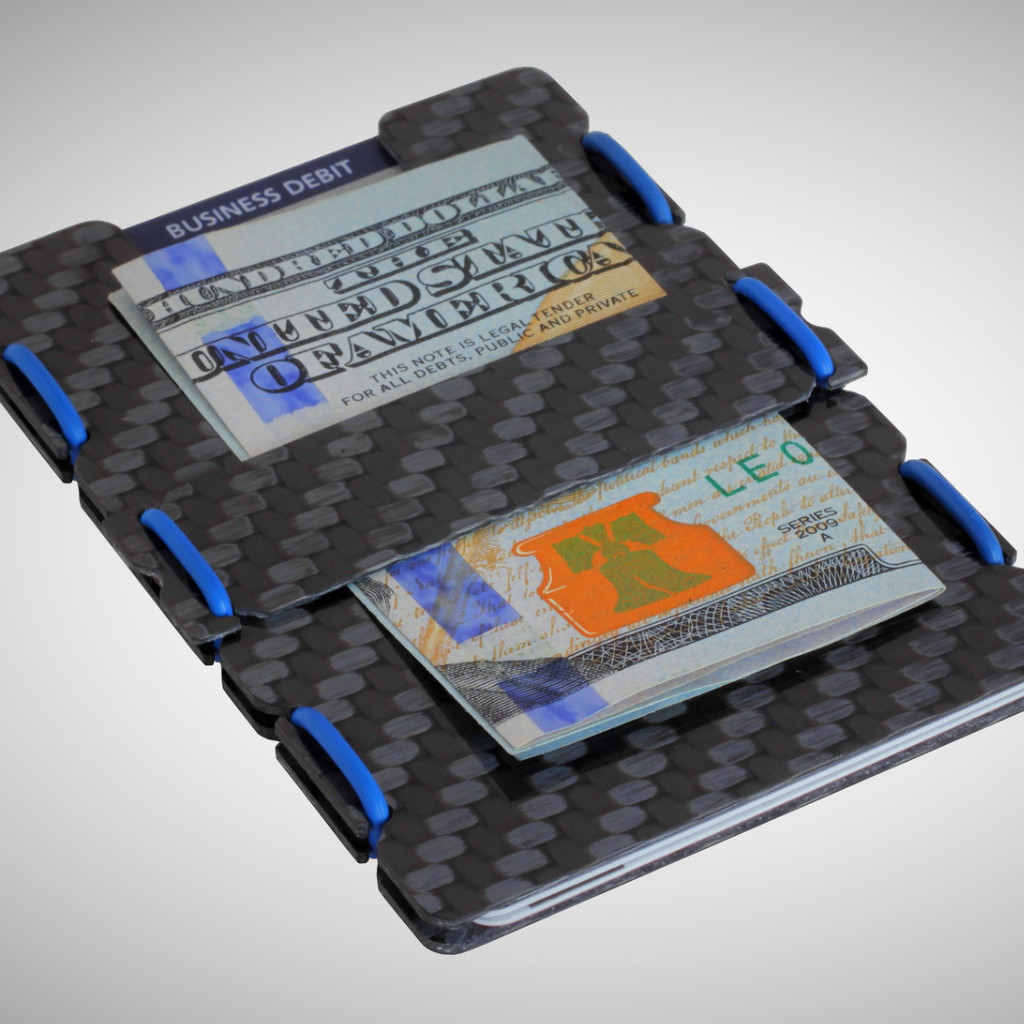 slimTECH Carbon Fiber Wallet With Money Clip and Strap - Carbon Stain/Blue