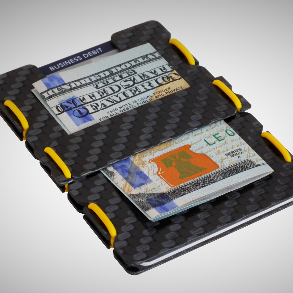 slimTECH Carbon Fiber Wallet With Money Clip and Strap - Carbon Stain/Yellow