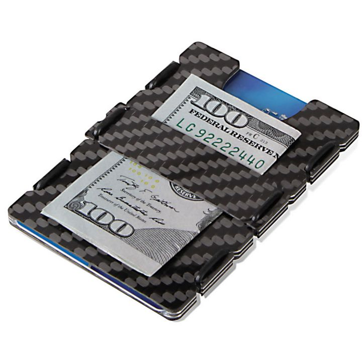 slimTECH Carbon Fiber Wallet With Money Clip and Strap - Carbon Stain