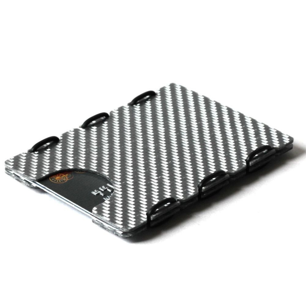 slimTECH Carbon Fiber Wallet With Money Clip - Silver