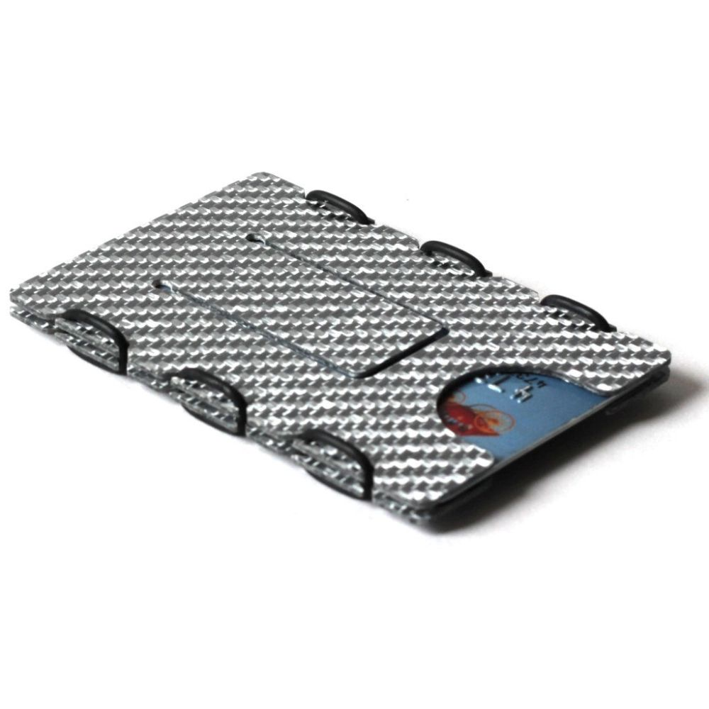 slimTECH Carbon Fiber Wallet With Money Clip and Strap - Silver