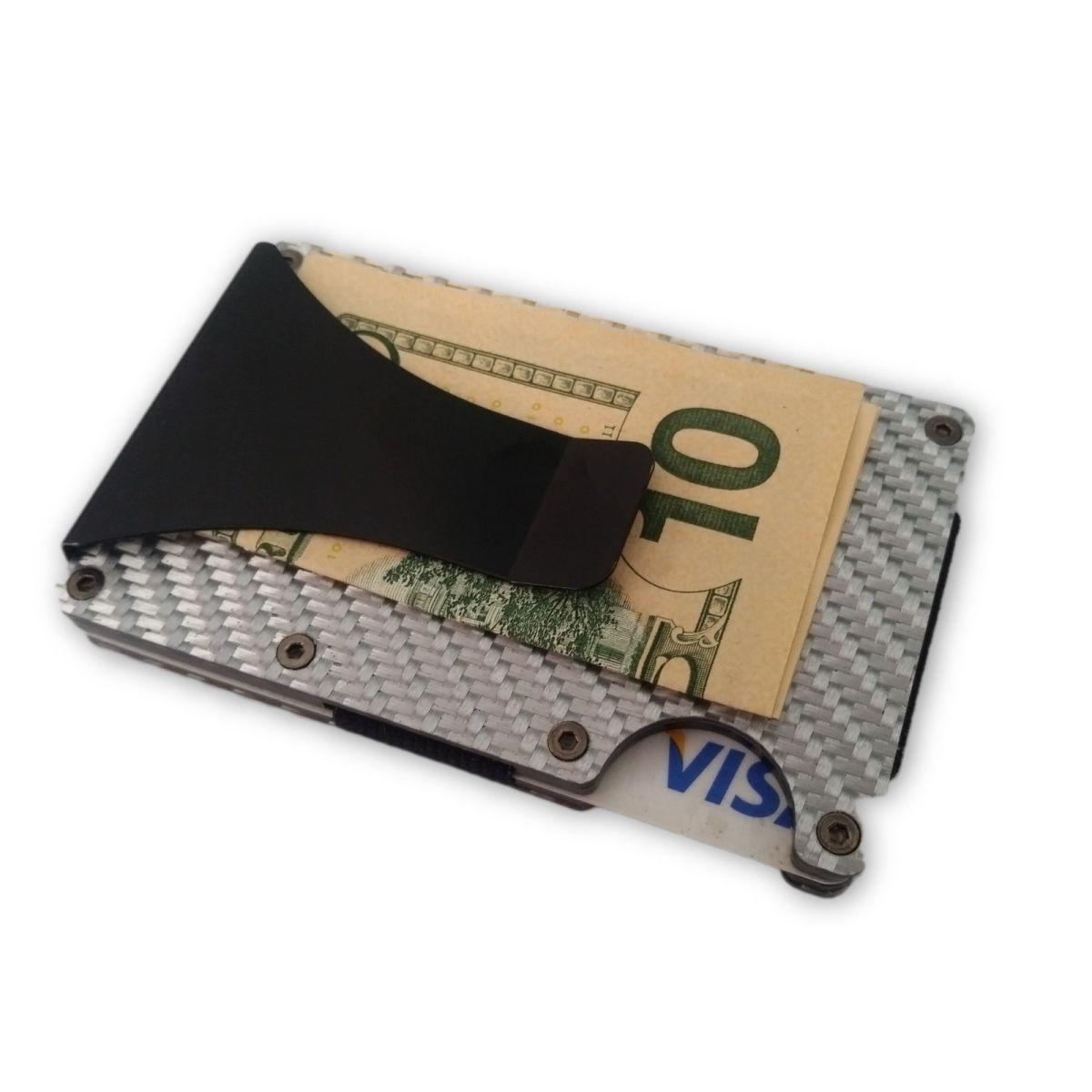 Minimalist Carbon Fiber Wallet with Money Clip - Silver