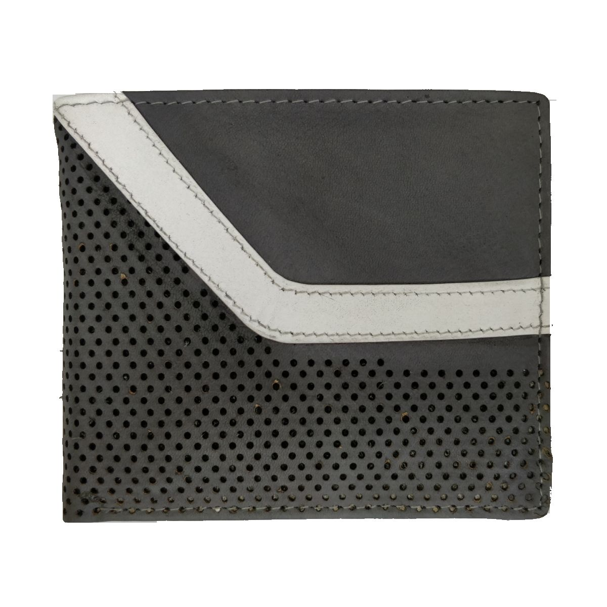 Leather Wallet With Broken Strip and Coin Pouch - Grey