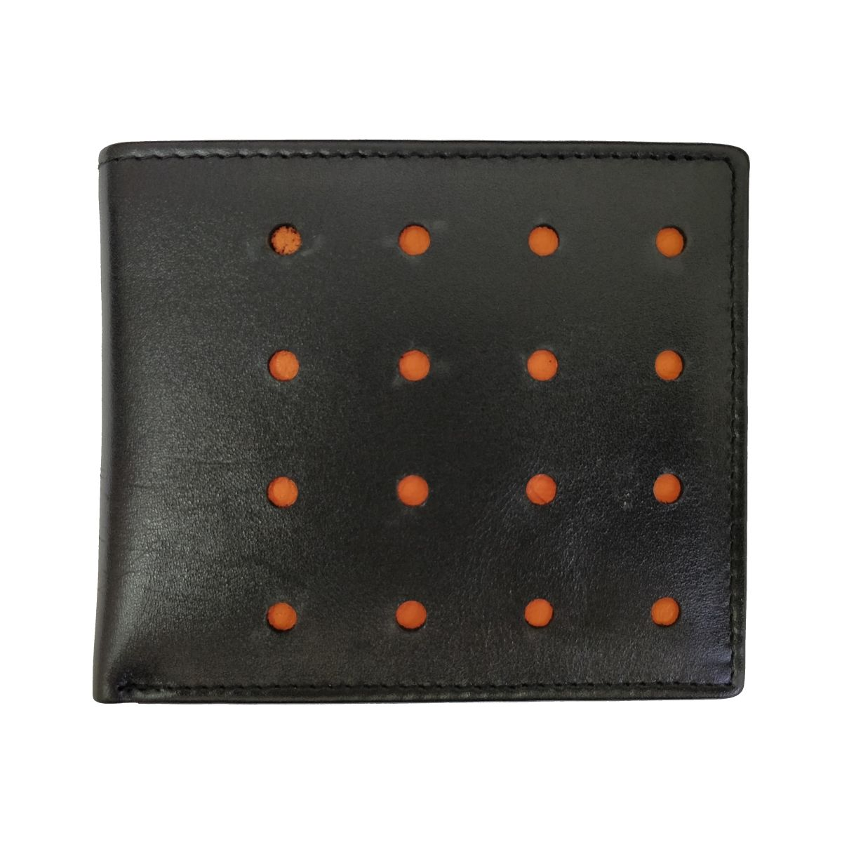 Leather Wallet Sixteen Holes With Coin Pouch - Black