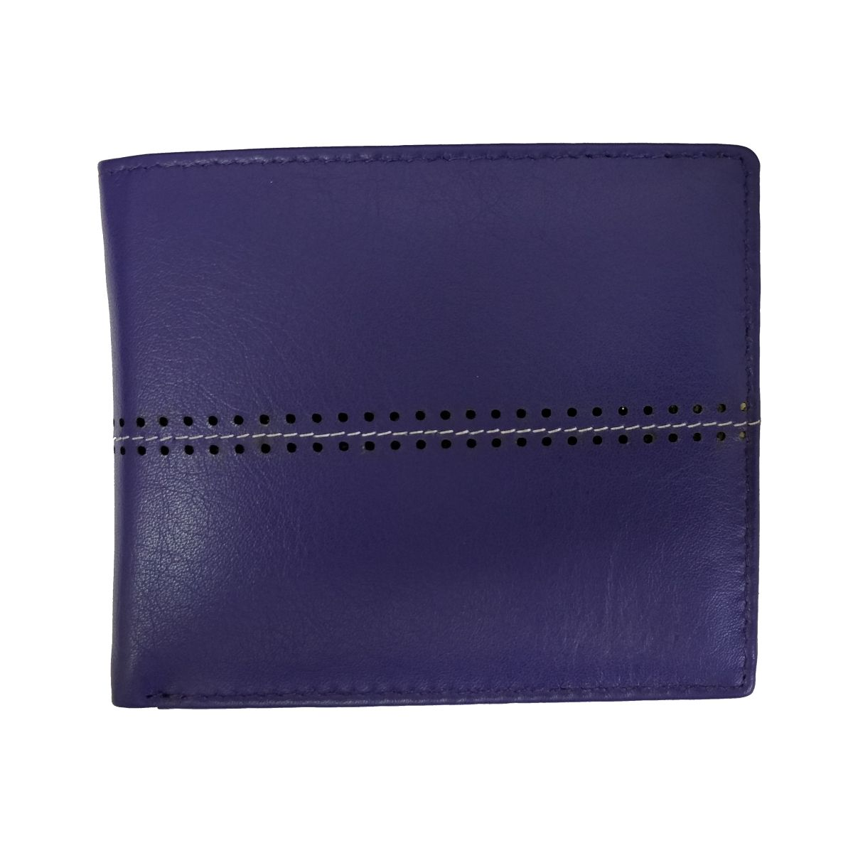 solo Leather Wallet With Horizontal Stitch and Coin Pouch - Blue