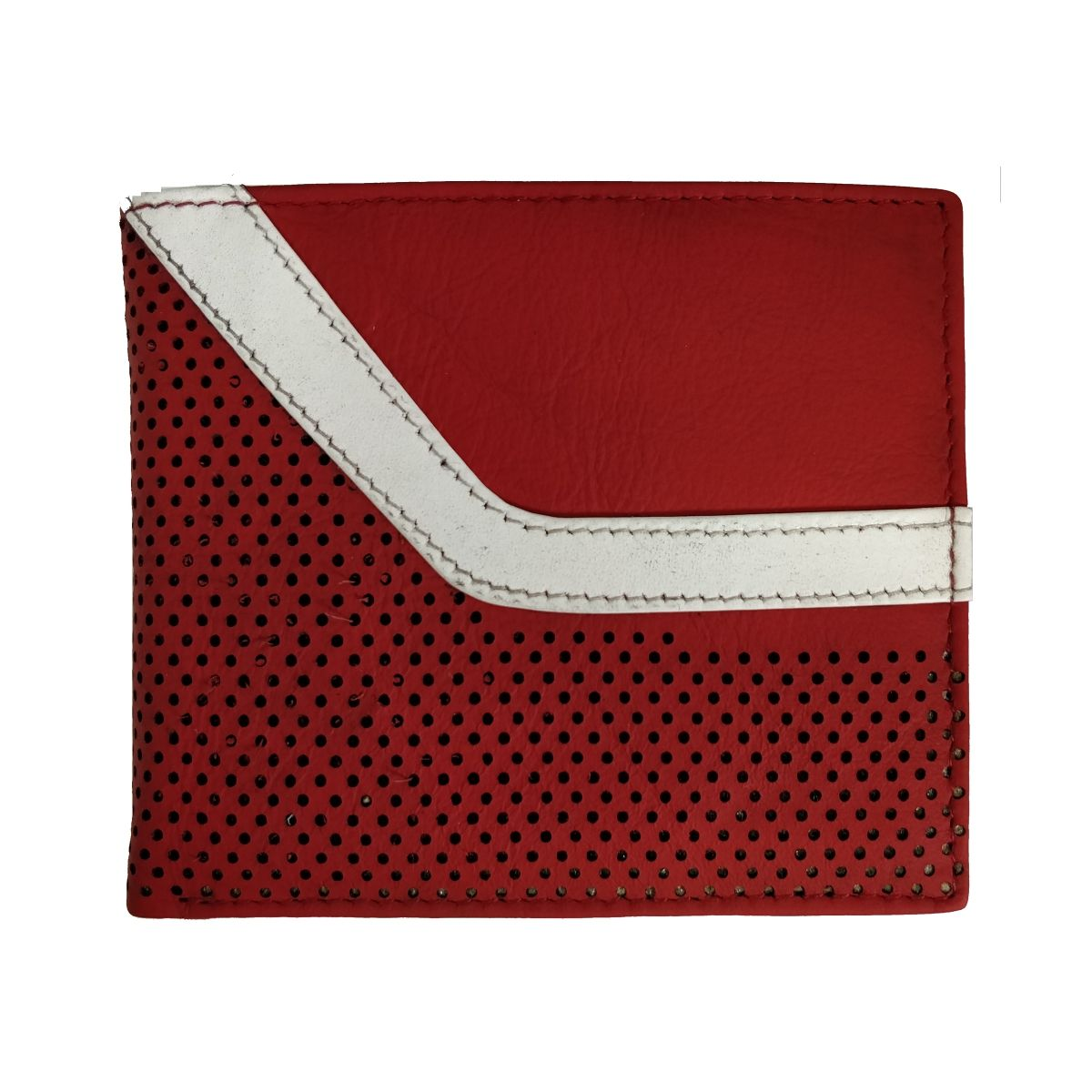 Leather Wallet With Broken Strip and Coin Pouch - Red/White