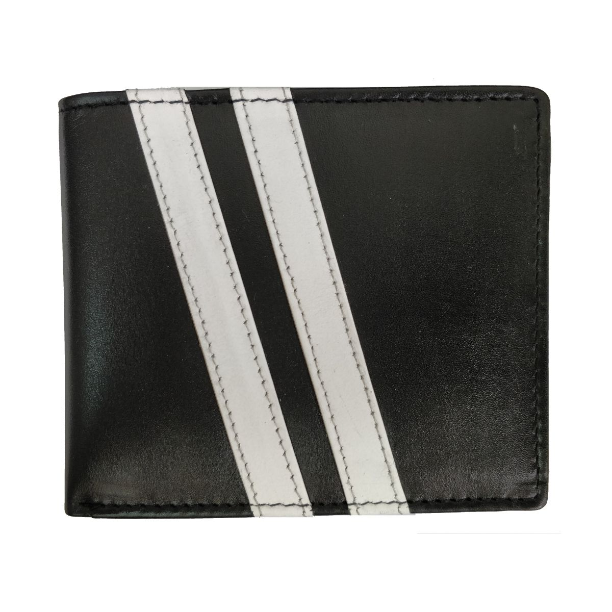 Leather Wallet 2 Strips and Coin Pouch - Black