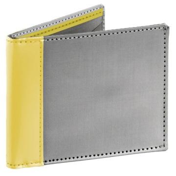 Stewart/Stand ארנק נרוסטה דגם Bill Fold - כסוף\צהוב