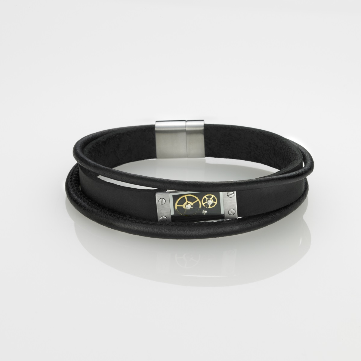 STORM London Cog Leather Bracelet - Black