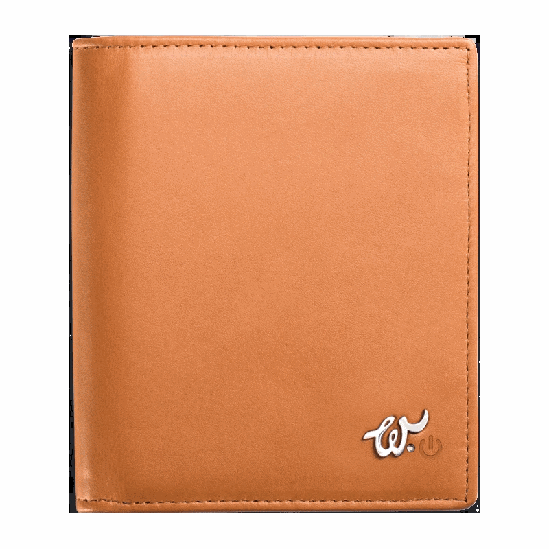 WOOLET Smart Leather Wallet with a Mobile App - Brown