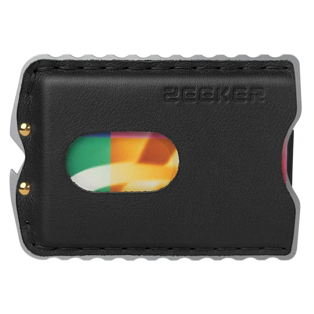 WALLET Minimalist Stainless Steel and Genuine Leather Wallet - Black