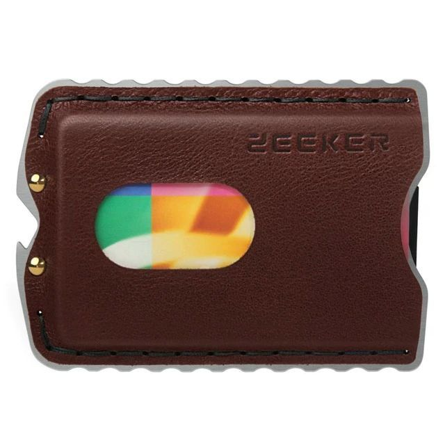 WALLET Minimalist Stainless Steel and Genuine Leather Wallet - Brown